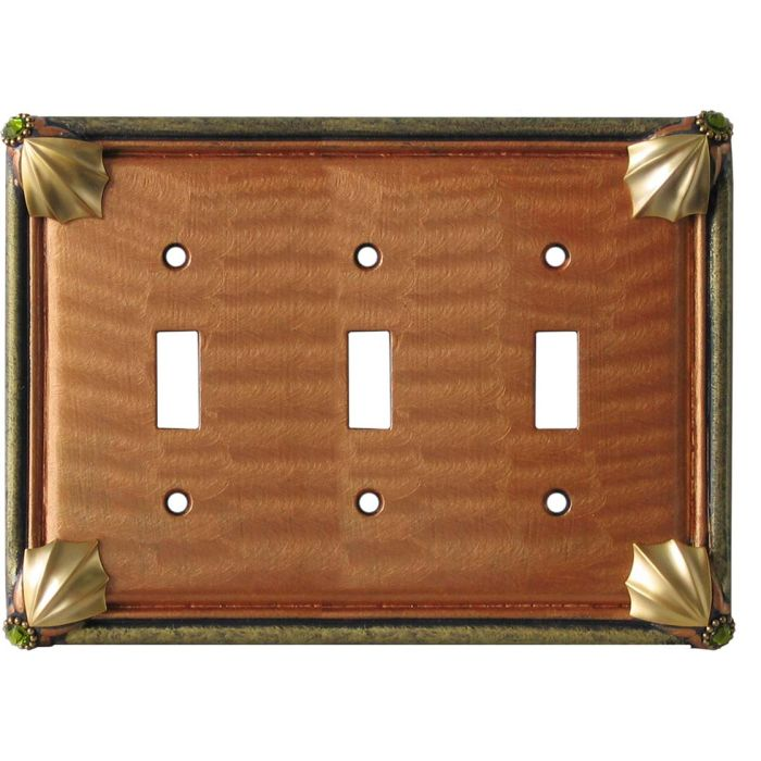 Cleo Amber Jade Triple 3 Toggle Light Switch Covers