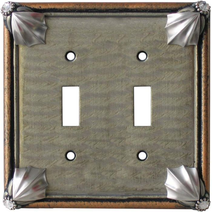 Cleo Deep Opal Amber Double 2 Toggle Switch Plate Covers