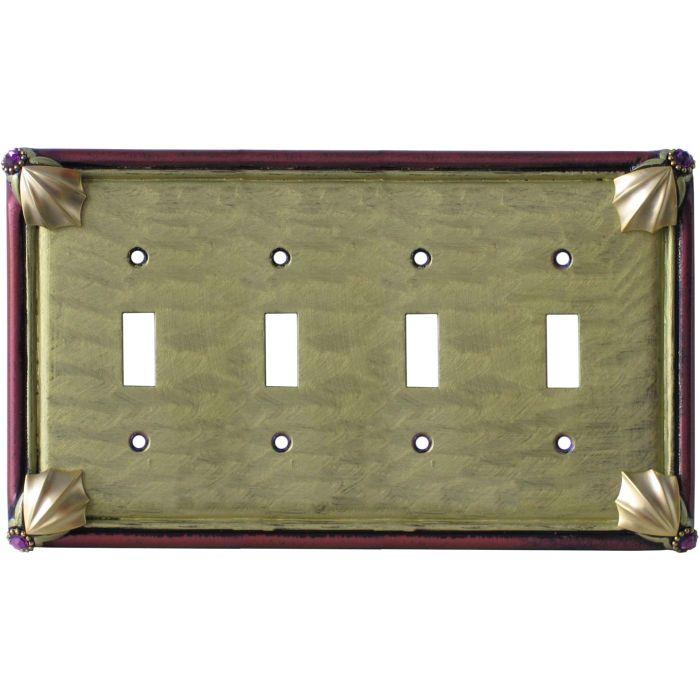 Cleo Jade Garnet Quad 4 Toggle Light Switch Covers