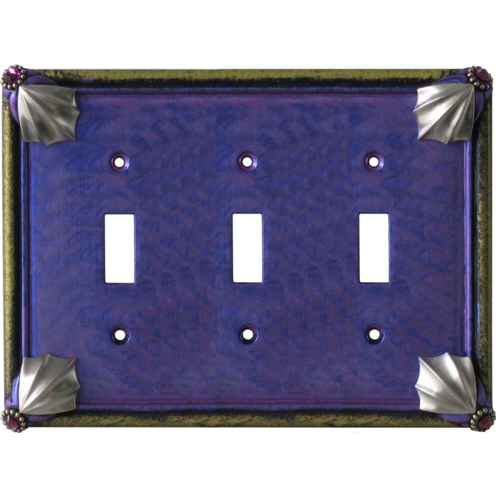 Cleo Periwinkle Jade Triple 3 Toggle Light Switch Covers