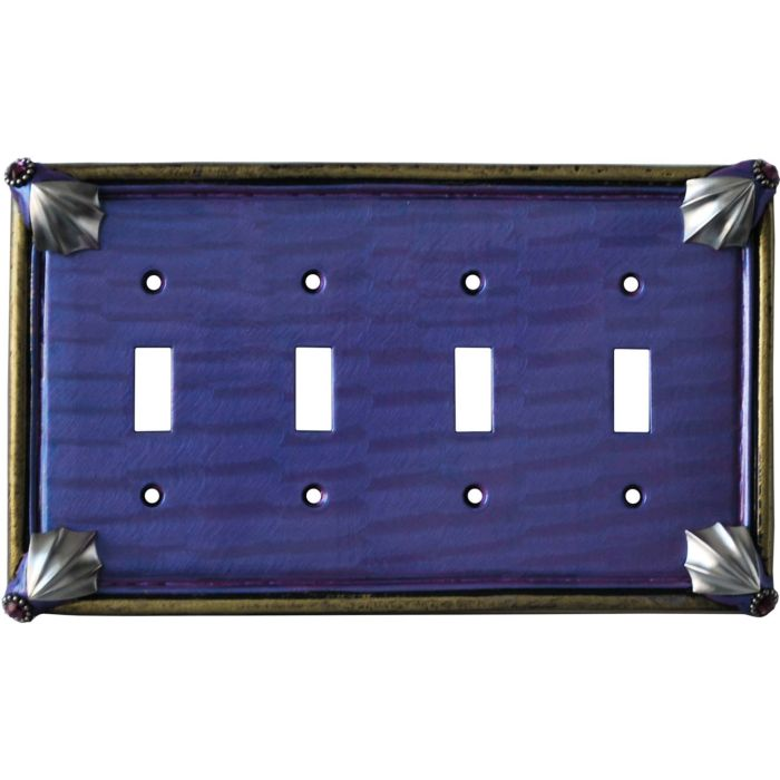 Cleo Periwinkle Jade Quad 4 Toggle Light Switch Covers
