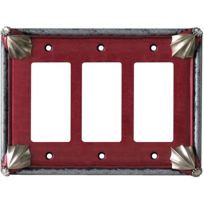 Cleo Ruby Silver Triple 3 Rocker GFCI Decora Light Switch Covers