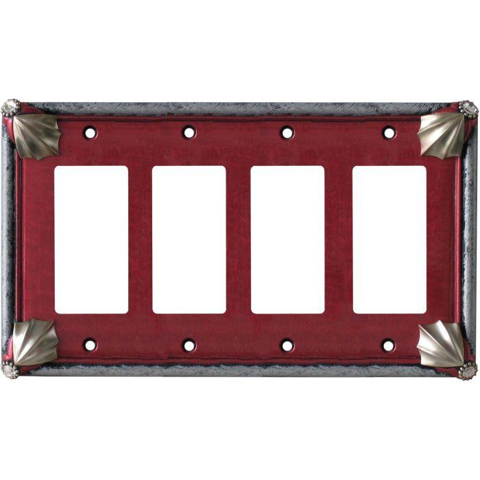 Cleo Ruby Silver 4 Rocker GFCI Decorator Switch Plates