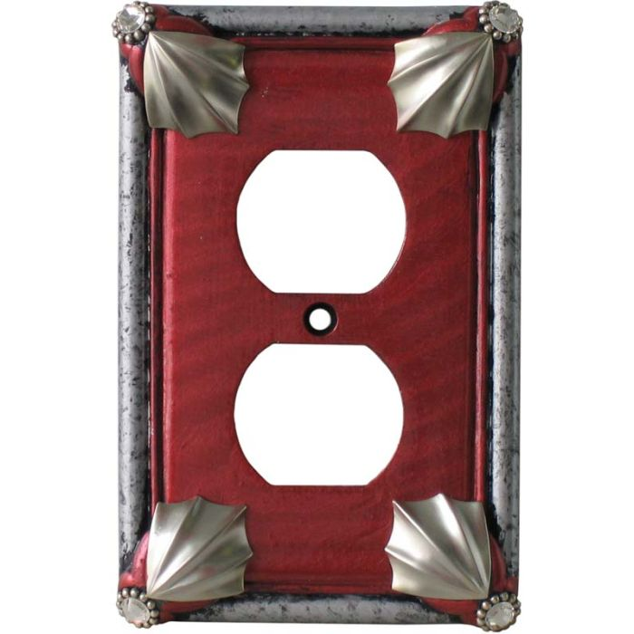 Cleo Ruby Silver 1 Gang Duplex Outlet Cover Wall Plate