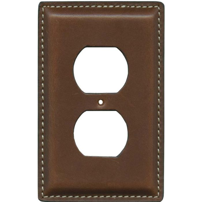 Cognac Oiled Leather 1 Gang Duplex Outlet Cover Wall Plate