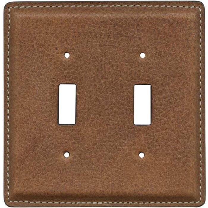 Cognac Pebble Grain Leather - 2 Toggle Switch Plate Covers
