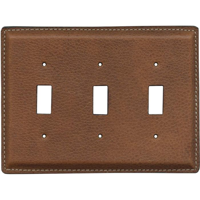 Cognac Pebble Grain Leather - 3 Toggle Light Switch Covers