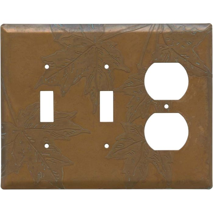 Copper Leaves Double 2 Toggle / Outlet Combination Wall Plates