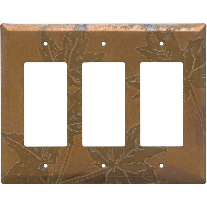 Copper Leaves Triple 3 Rocker GFCI Decora Light Switch Covers
