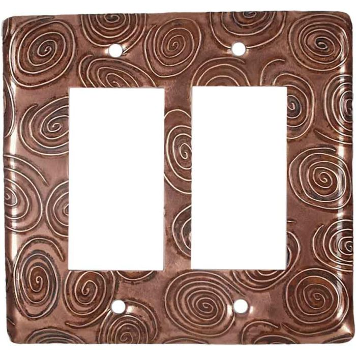 Copper Swirls 2 Gang Double GFCI Rocker Decorator Wallplates