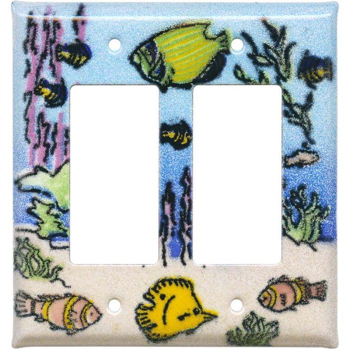 Coral Reef Fish 2 Gang Double GFCI Rocker Decorator Wallplates