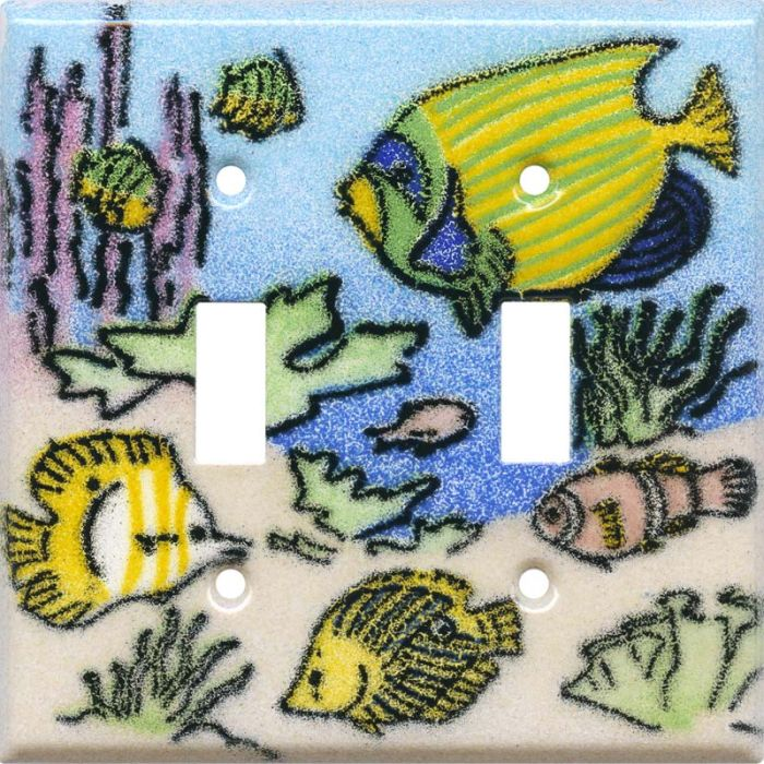 Coral Reef Fish Double 2 Toggle Switch Plate Covers