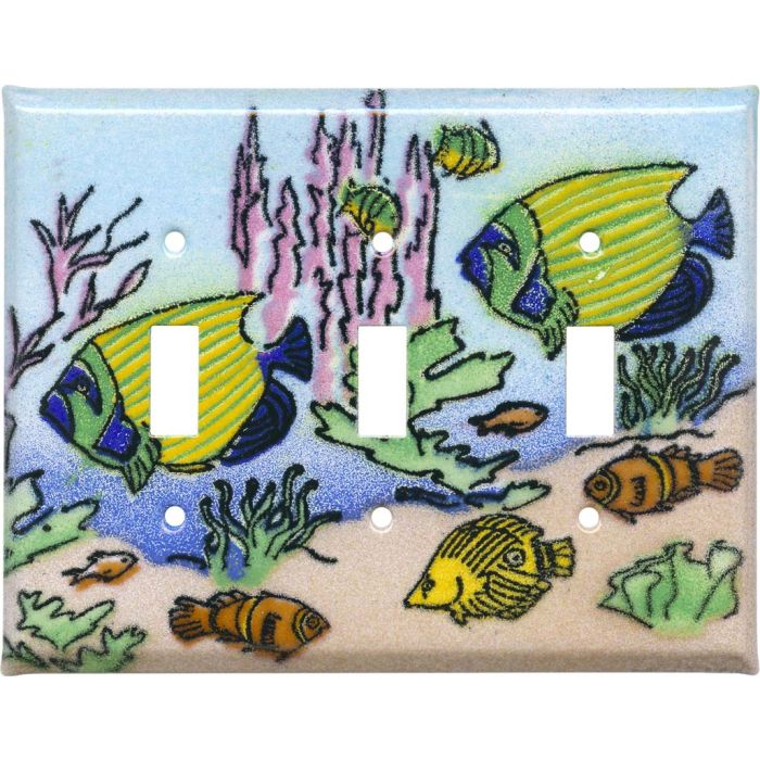 Coral Reef Fish Triple 3 Toggle Light Switch Covers