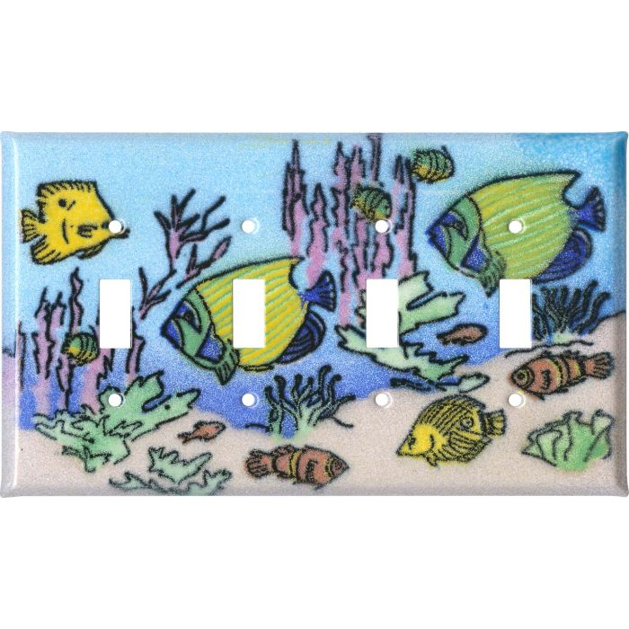 Coral Reef Fish Quad 4 Toggle Light Switch Covers