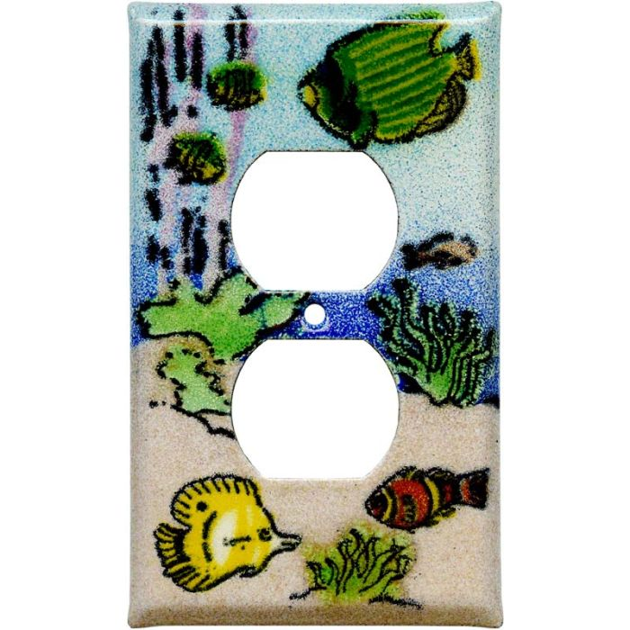 Coral Reef Fish 1 Gang Duplex Outlet Cover Wall Plate