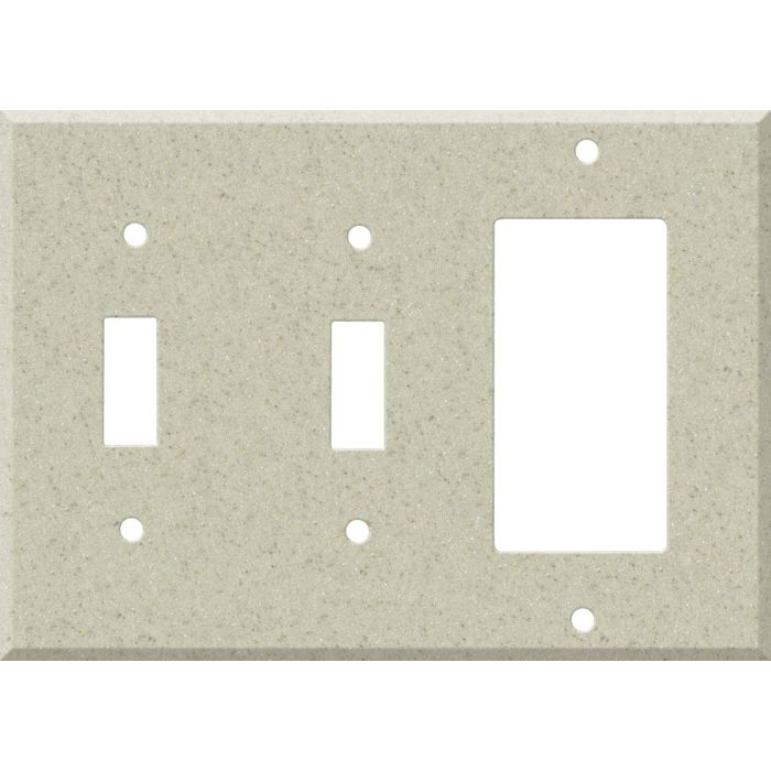 Corian Aurora Double 2 Toggle / 1 GFCI Rocker Combo Switchplates