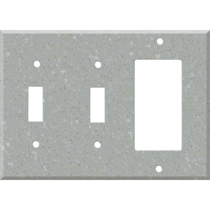 Corian Blue Pebble Double 2 Toggle / 1 GFCI Rocker Combo Switchplates