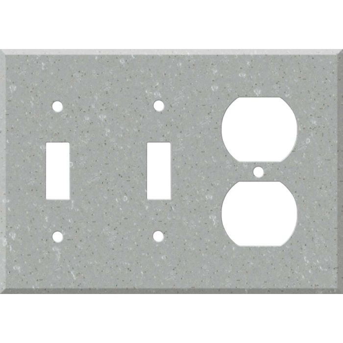 Corian Blue Pebble Double 2 Toggle / Outlet Combination Wall Plates