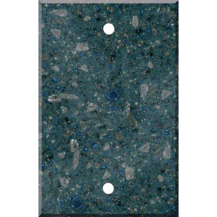 Corian Blue Spice 1 Gang Blank Wall Plates