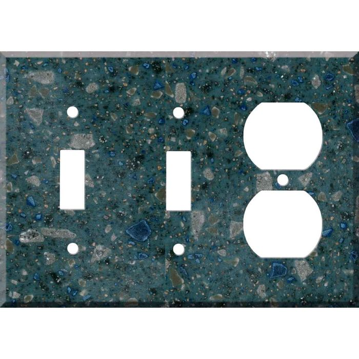 Corian Blue Spice Double 2 Toggle / Outlet Combination Wall Plates