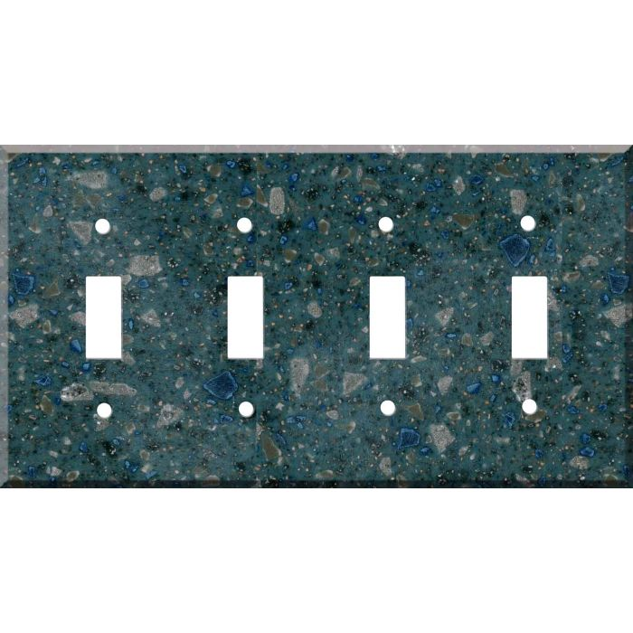Corian Blue Spice Quad 4 Toggle Light Switch Covers