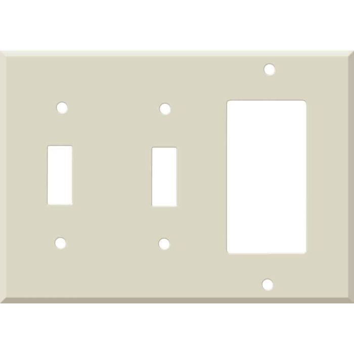 Corian Bone Double 2 Toggle / 1 GFCI Rocker Combo Switchplates