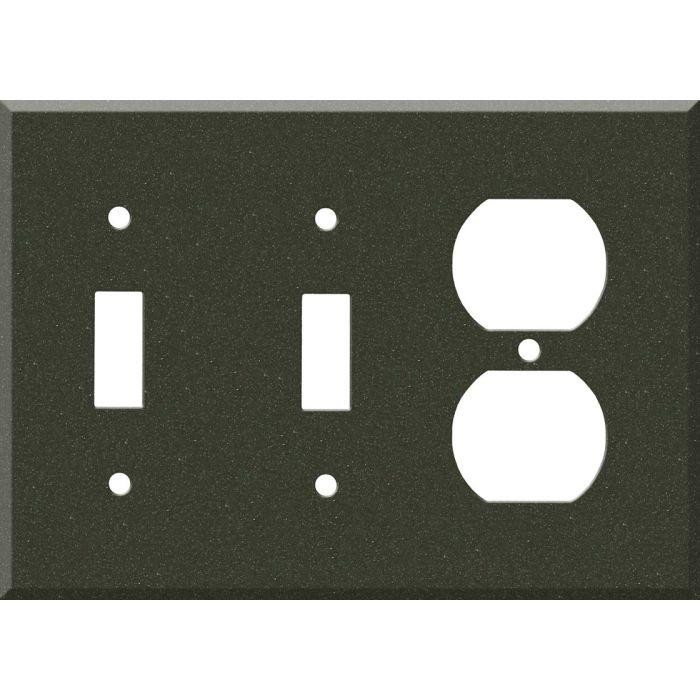 Corian Bronze Patina Double 2 Toggle / 1 GFCI Rocker Combo Switchplates