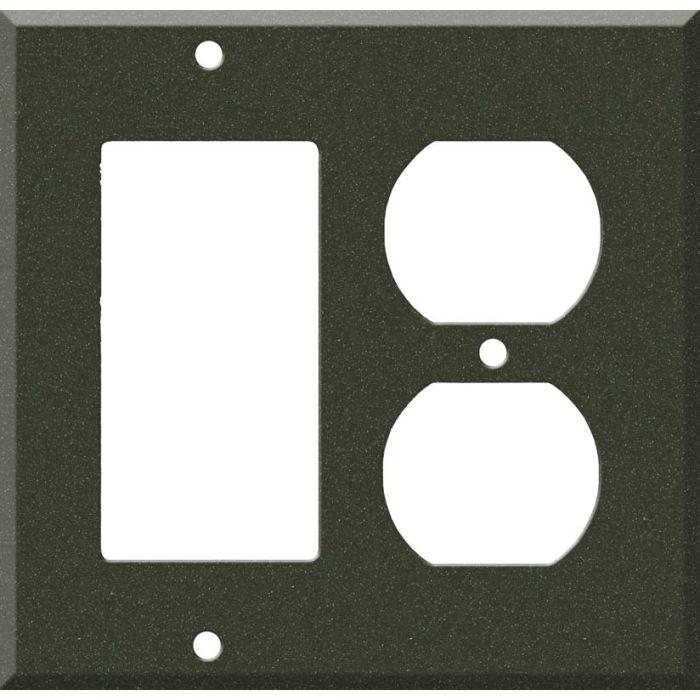 Corian Bronze Patina Decora GFCI Rocker / Duplex Outlet Combination Wall Plate