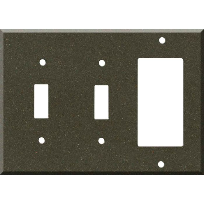 Corian Bronzite Double 2 Toggle / 1 GFCI Rocker Combo Switchplates