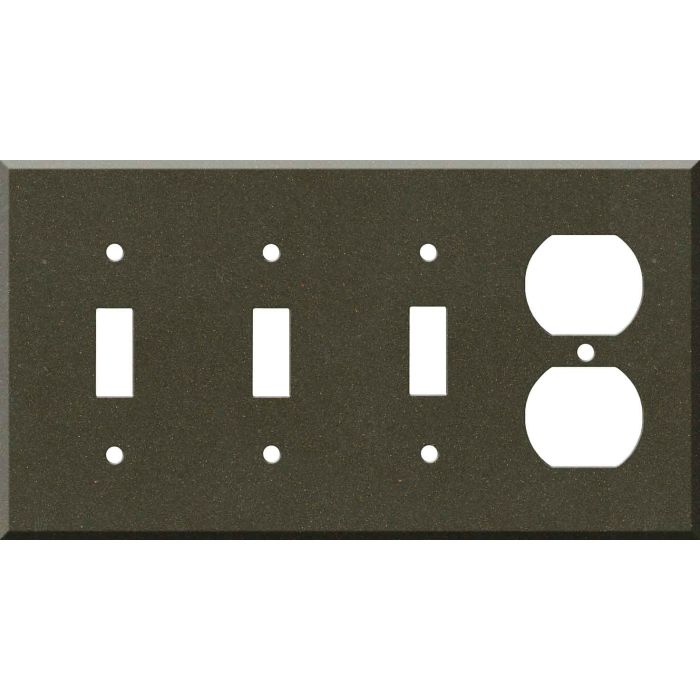 Corian Bronzite Combination Triple 3 Toggle / Outlet Wall Plate Covers