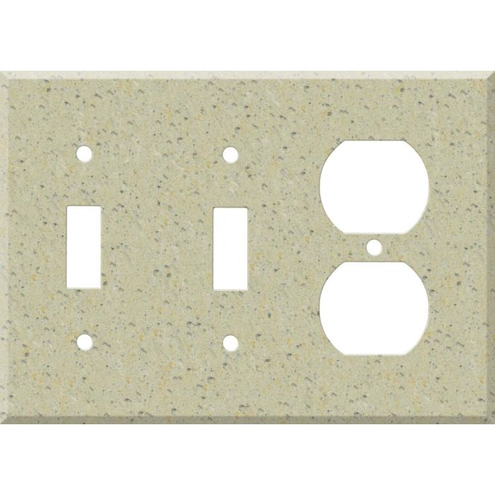Corian Burled Beach Double 2 Toggle / Outlet Combination Wall Plates