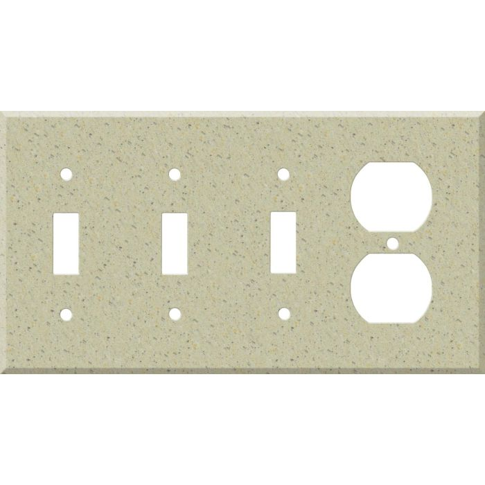 Corian Burled Beach Combination Triple 3 Toggle / Outlet Wall Plate Covers
