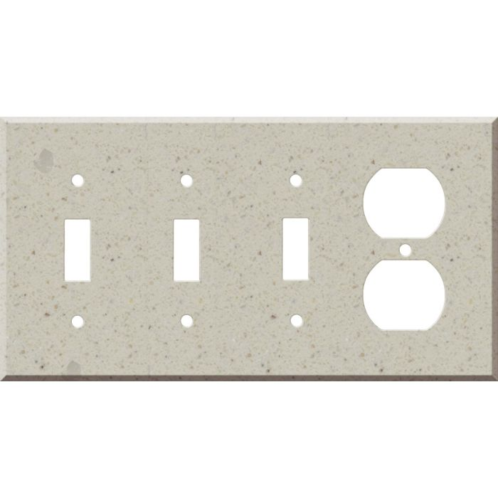 Corian Canvas Combination Triple 3 Toggle / Outlet Wall Plate Covers