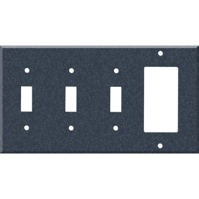 Corian Cobalt 3-Toggle / 1-Decorator / Rocker - Combination Wall Plates