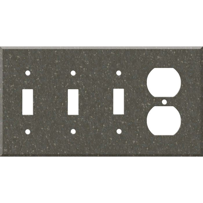 Corian Cocoa Brown Combination Triple 3 Toggle / Outlet Wall Plate Covers