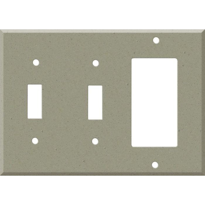 Corian Concrete Double 2 Toggle / 1 GFCI Rocker Combo Switchplates