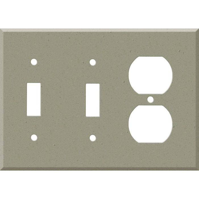 Corian Concrete Double 2 Toggle / Outlet Combination Wall Plates