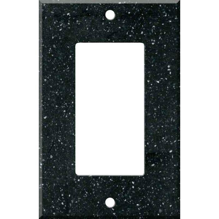 Corian Deep Black Quartz Single 1 Gang GFCI Rocker Decora Switch Plate Cover