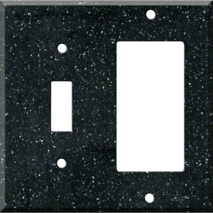 Corian Deep Black Quartz Combination 1 Toggle / Rocker GFCI Switch Covers
