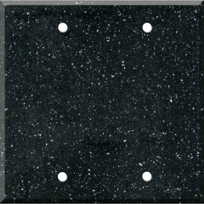 Corian Deep Black Quartz Double Blank Wallplate Covers