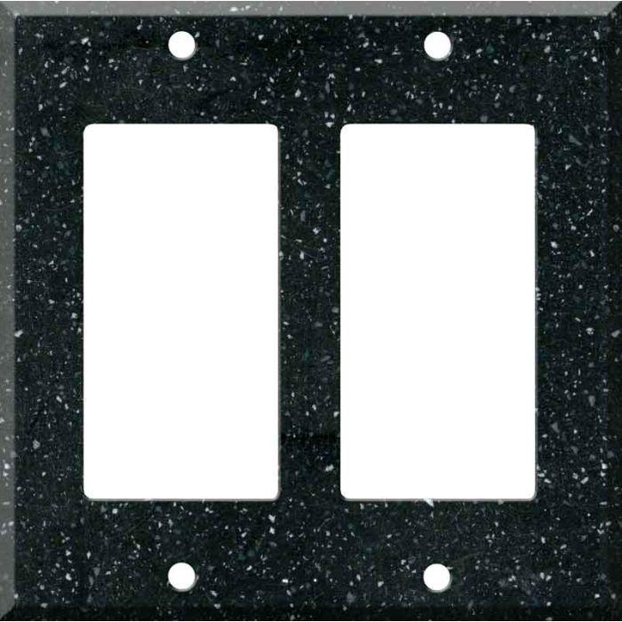 Corian Deep Black Quartz 2 Gang Double GFCI Rocker Decorator Wallplates