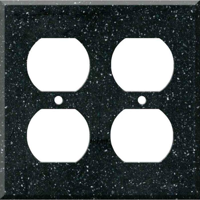 Corian Deep Black Quartz 2 Gang Duplex Outlet Wall Plate Cover