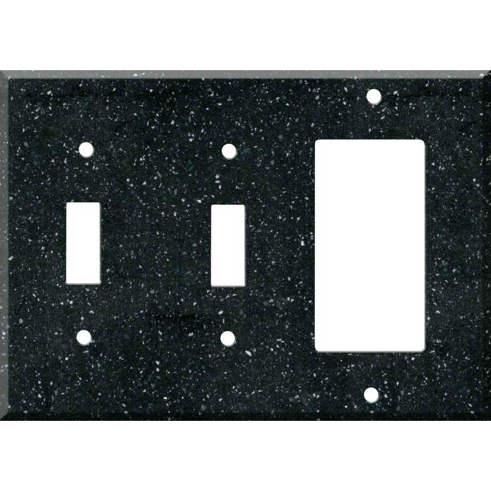 Corian Deep Black Quartz Double 2 Toggle / 1 GFCI Rocker Combo Switchplates