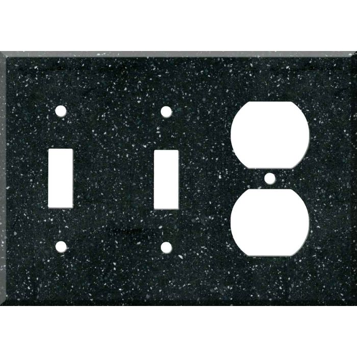 Corian Deep Black Quartz Double 2 Toggle / Outlet Combination Wall Plates