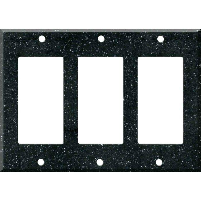 Corian Deep Black Quartz Triple 3 Rocker GFCI Decora Light Switch Covers