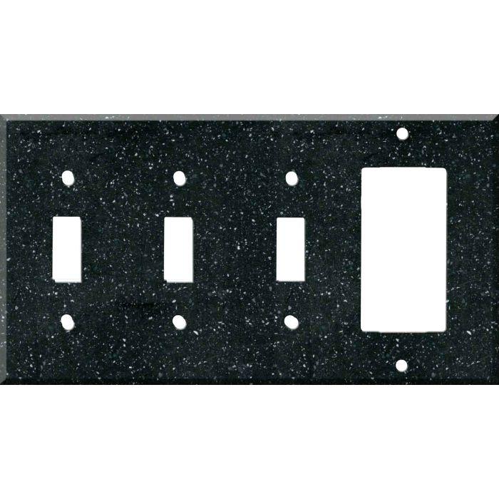 Corian Deep Black Quartz Triple 3 Toggle / 1 Rocker GFCI Switch Covers