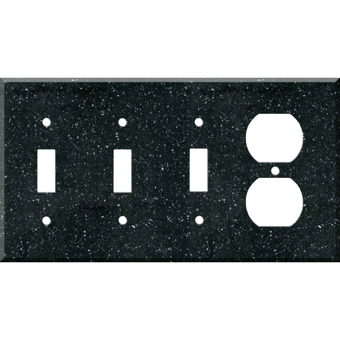 Corian Deep Black Quartz Combination Triple 3 Toggle / Outlet Wall Plate Covers