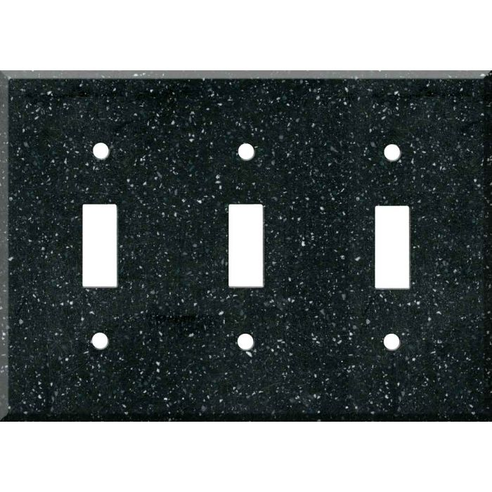 Corian Deep Black Quartz Triple 3 Toggle Light Switch Covers