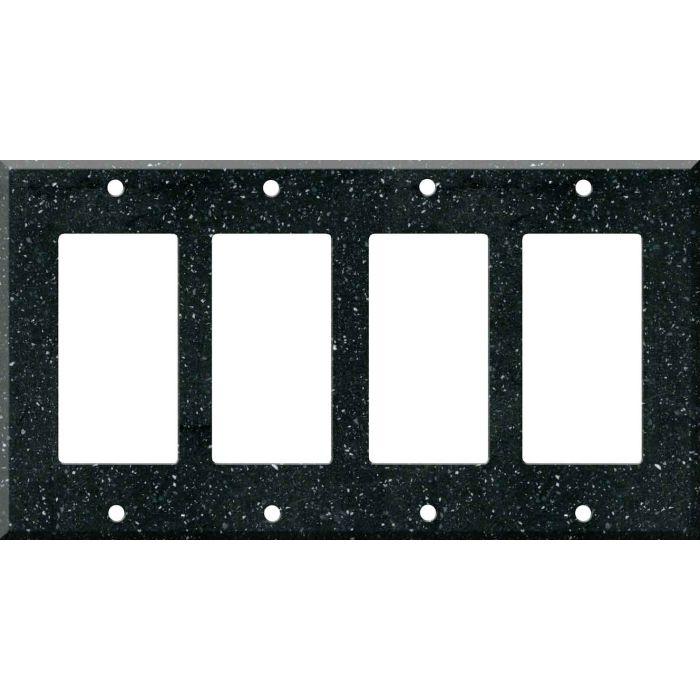 Corian Deep Black Quartz 4 Rocker GFCI Decorator Switch Plates