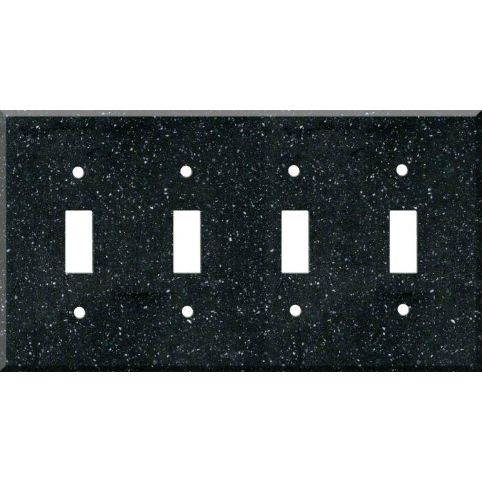 Corian Deep Black Quartz Quad 4 Toggle Light Switch Covers